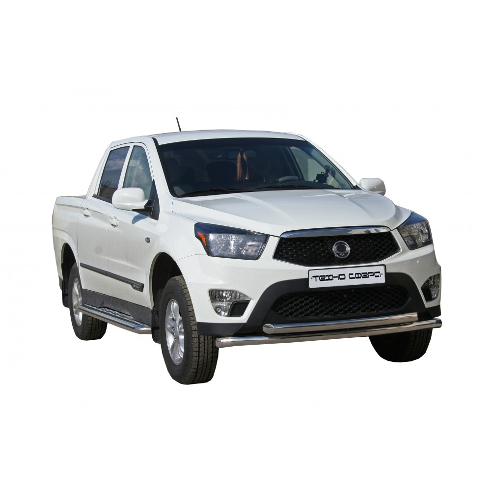 ПОРОГИ c алюм. накладками d63,5 SSANGYONG ACTION SPORTS НЕРЖ.